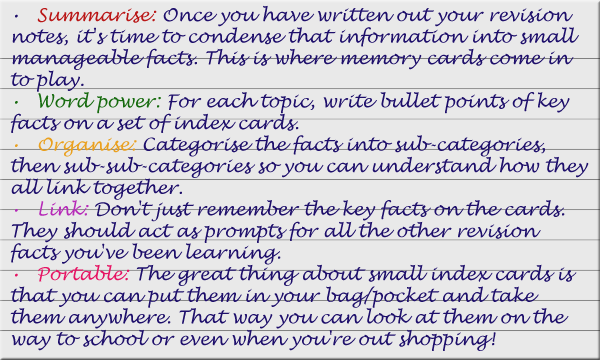 Index cards for revision