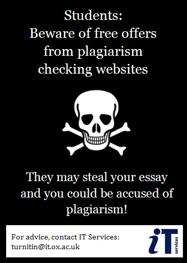 Warning poster plagiarism checker websites