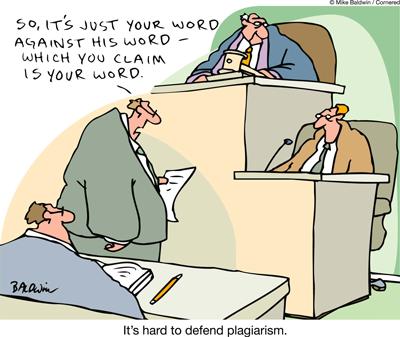 Defending plagiarism in court - cartoon