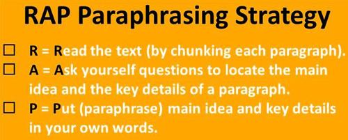 RAP paraphrasing strategy